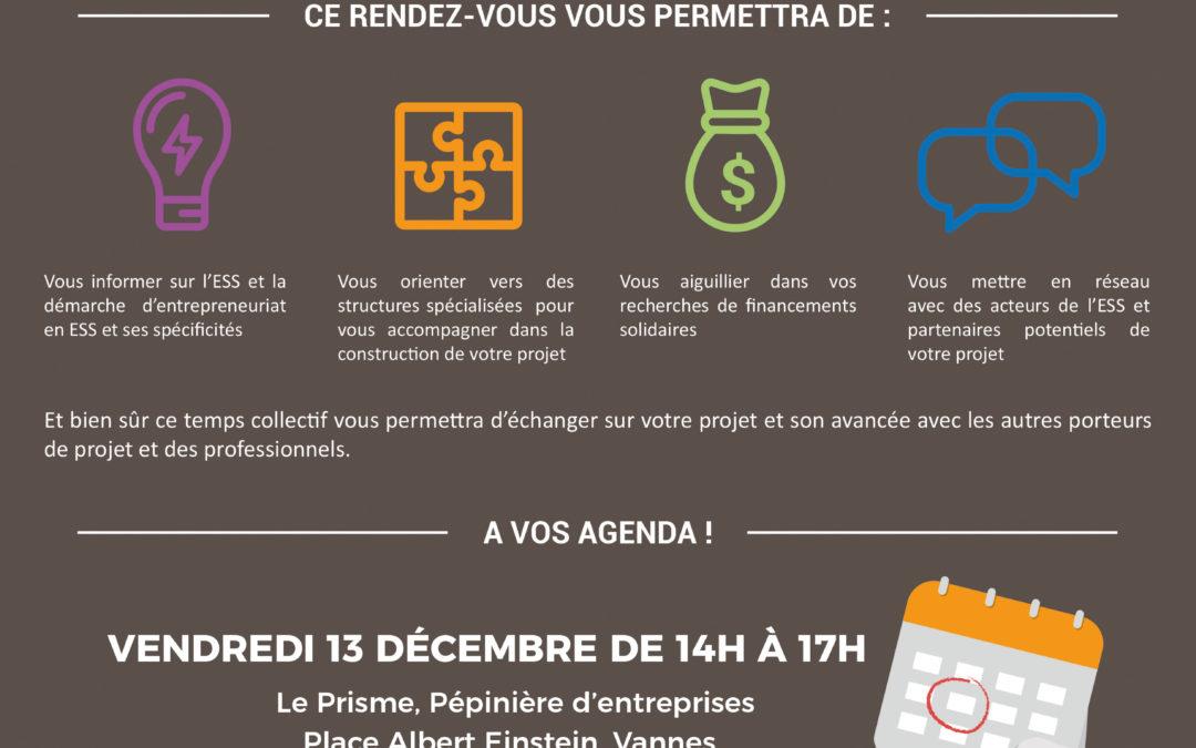 Vendredi 13 décembre de 14h à 17h: Cap sur l'ESS, le RDV des porteurs de projets du Pays de Vannes